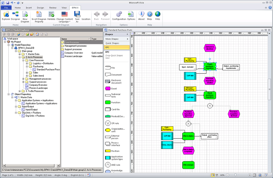 bpmx use visio174 for process mapping